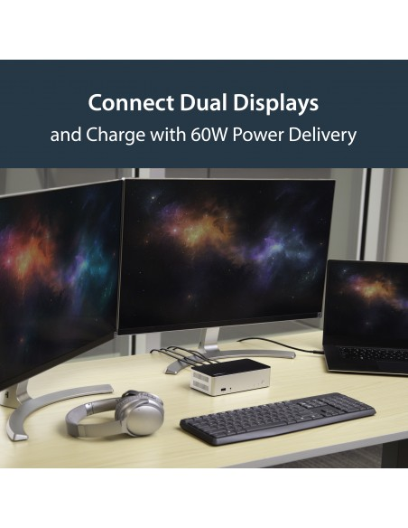 "StarTech.com Dual-Monitor USB-C Dock for Windows - 2.5"" SATA SSD/HDD Bay Startech MST30C2HDPPD - 13"