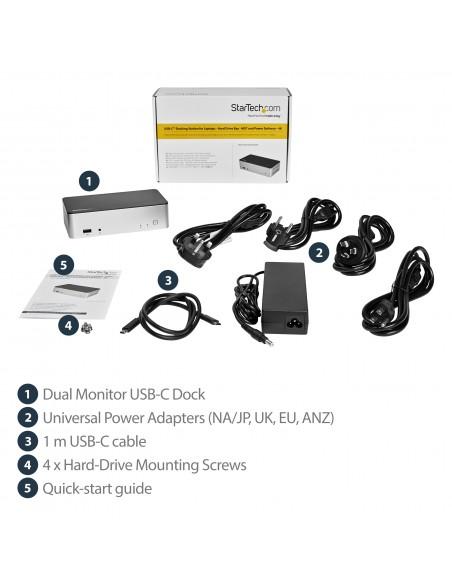 "StarTech.com Dual-Monitor USB-C Dock for Windows - 2.5"" SATA SSD/HDD Bay Startech MST30C2HDPPD - 16"
