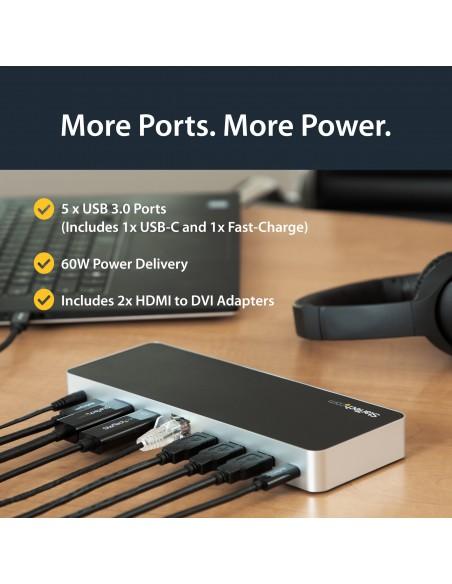 StarTech.com USB-C-docka med dubbla skärmar och MST - 5x USB 3.0-portar Startech MST30C2HHPDU - 14