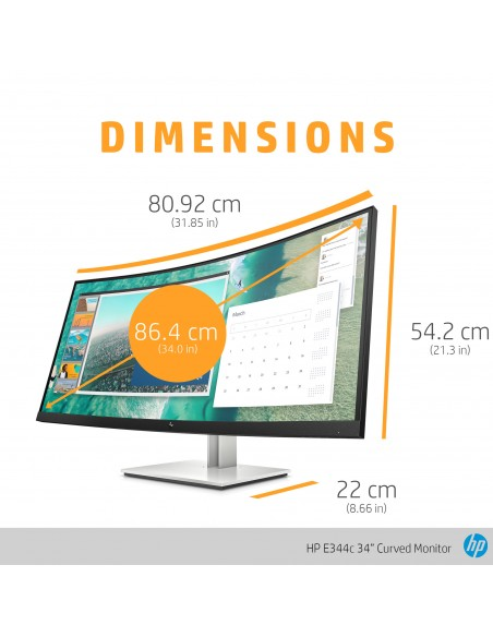 "HP E344c 86.4 cm (34"") 3440 x 1440 pixlar Quad HD Silver Hp 6GJ95AA#ABB - 16"