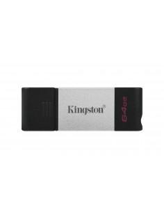 Kingston Technology DataTraveler 80 USB-muisti 64 GB USB Type-C 3.2 Gen 1 (3.1 1) Musta, Hopea Kingston DT80/64GB - 1