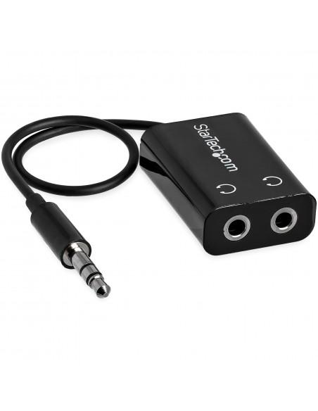 StarTech.com Black Slim Mini Jack Headphone Splitter Cable Adapter - 3.5mm Male to 2x Female Startech MUY1MFFADP - 4