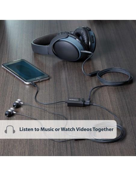 StarTech.com Black Slim Mini Jack Headphone Splitter Cable Adapter - 3.5mm Male to 2x Female Startech MUY1MFFADP - 5