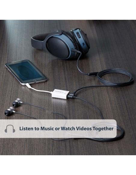 StarTech.com Vit Slim mini jack splitterkabel för hörlurar – 3.5 mm hane till 2 x hona Startech MUY1MFFADPW - 5