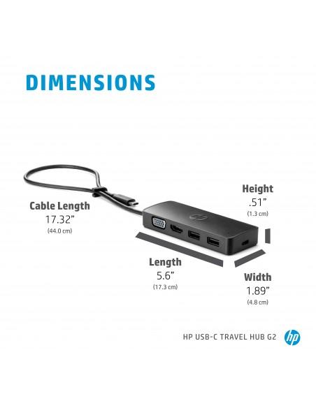 HP USB-C Travel Hub G2 USB 3.2 Gen 1 (3.1 1) Type-C Hp 7PJ38AA - 8