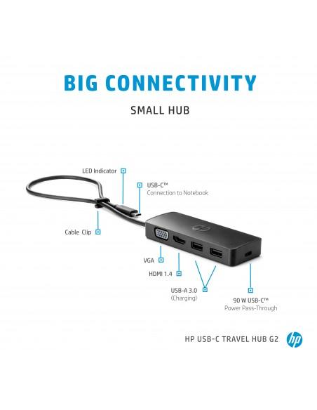 HP USB-C Travel Hub G2 USB 3.2 Gen 1 (3.1 1) Type-C Hp 7PJ38AA - 10