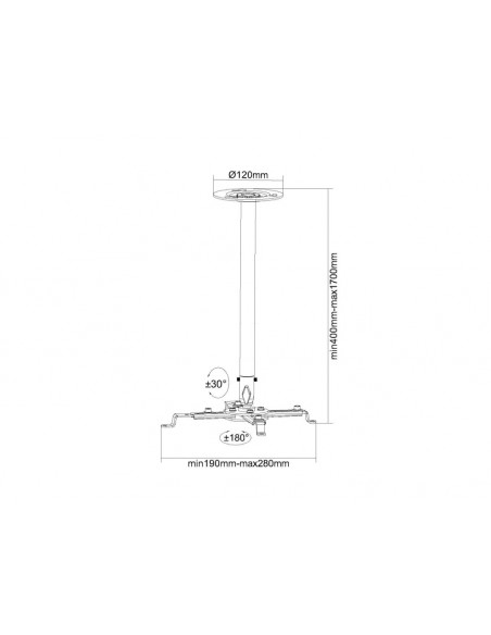Multibrackets M Universal Projector Ceilingmount IIII 400-1700mm Multibrackets 7350022732544 - 5