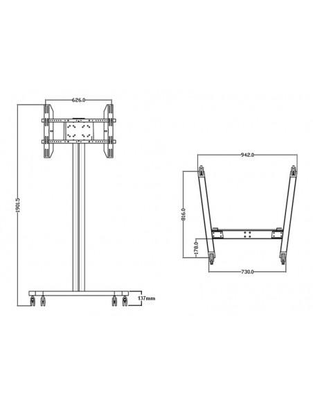 """Multibrackets 0636 kyltin näyttökiinnike 160 cm (63"""") Hopea Multibrackets 7350073730636 - 18"""