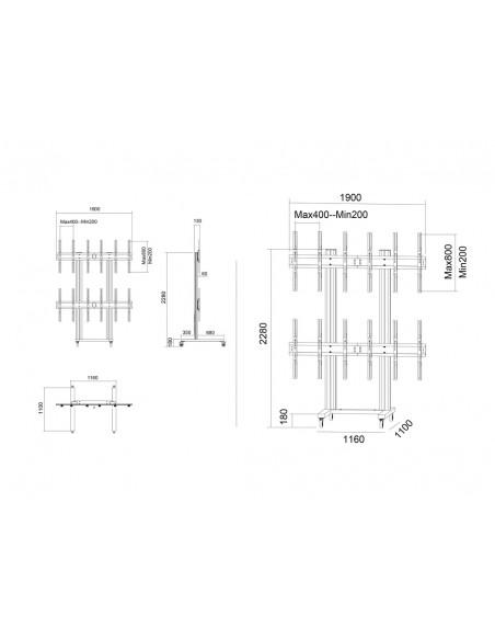 """Multibrackets 1824 kyltin näyttökiinnike 139.7 cm (55"""") Musta Multibrackets 7350073731824 - 19"""