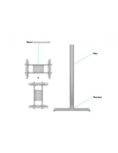 Multibrackets M Display Stand 180 Single Silver w. Floorbase Multibrackets 7350073732418 - 8