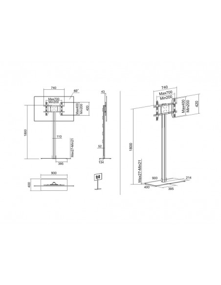 """Multibrackets 2418 fäste för skyltningsskärm 160 cm (63"""") Silver Multibrackets 7350073732418 - 19"""
