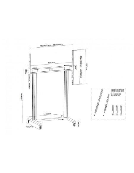Multibrackets M Public Display Stand 210 Dual Pillar 150kg MAX Wheelbase Multibrackets 7350073733439 - 6