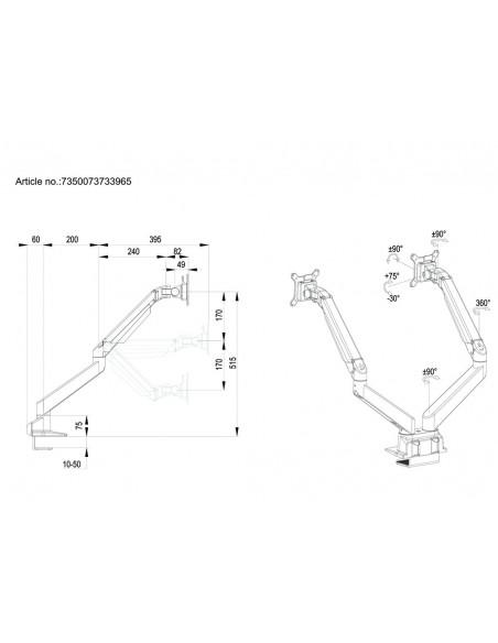 Multibrackets M VESA Gas Lift Arm Dual Side by Black Multibrackets 7350073733965 - 20