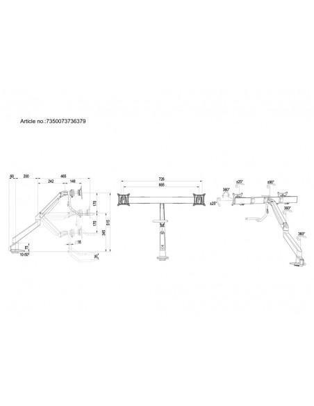 Multibrackets M VESA Gas Lift Arm w. Duo Crossbar 2 White Multibrackets 7350073736379 - 20