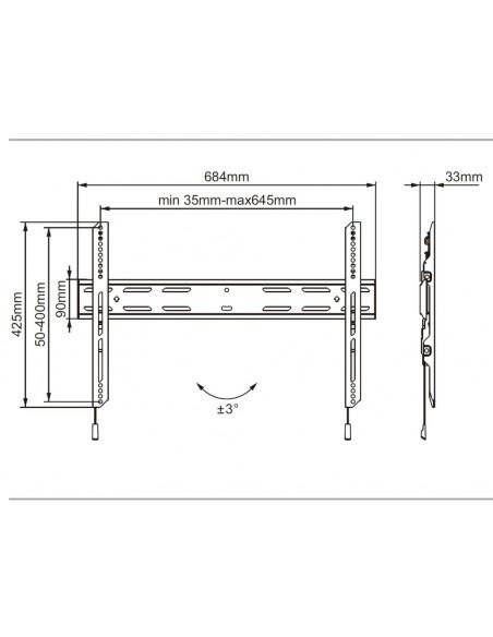 """Multibrackets 7350073736683 litteiden näyttöjen seinäkiinnike 190,5 cm (75"""") Musta Multibrackets 7350073736683 - 5"""